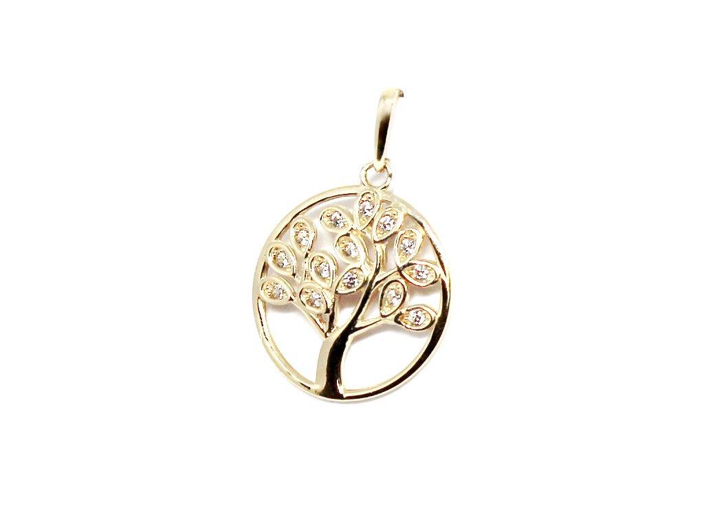 Zlatý přívěsek strom života se zirkony 20mm