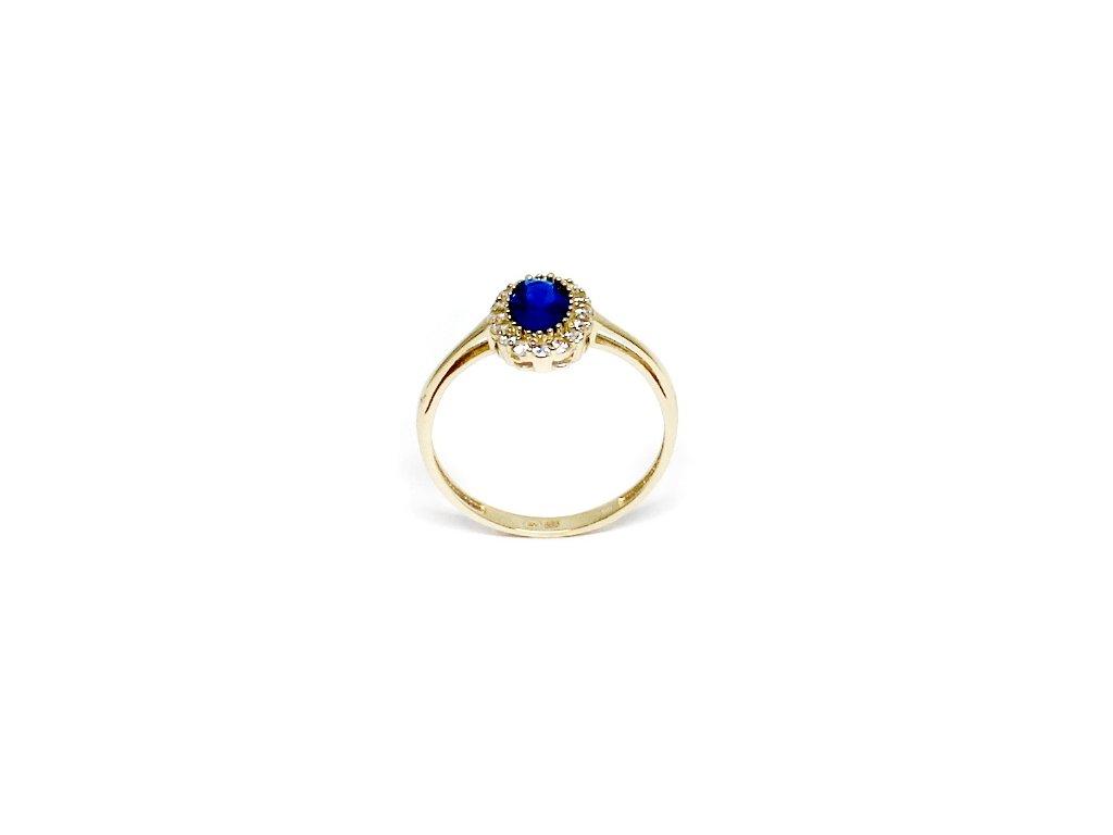 c84b3adce Zlatý prsten se zirkony a safírem Kate