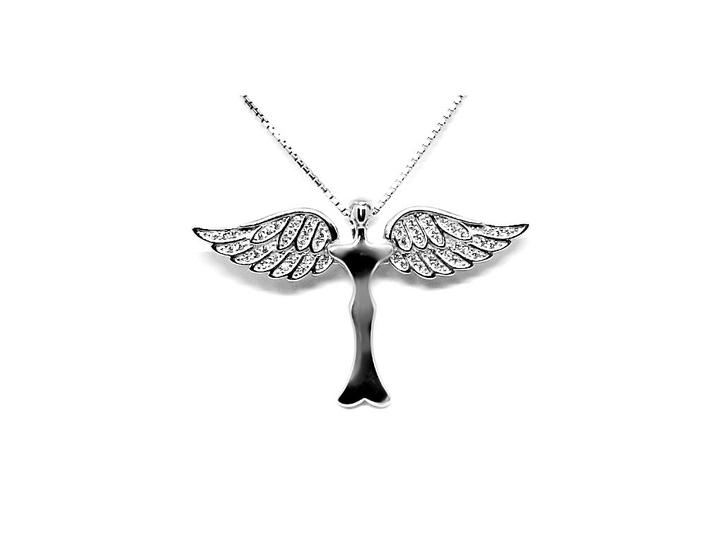 Stříbrný přívěsek Anděl ochranitel se zirkony