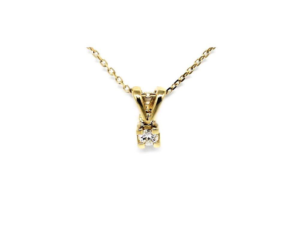 Alo diamantový přívěsek kulatý 0,08ct s řetízkem