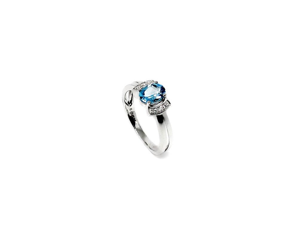 Diamantový prsten s blue topazem bílé zlato Turies