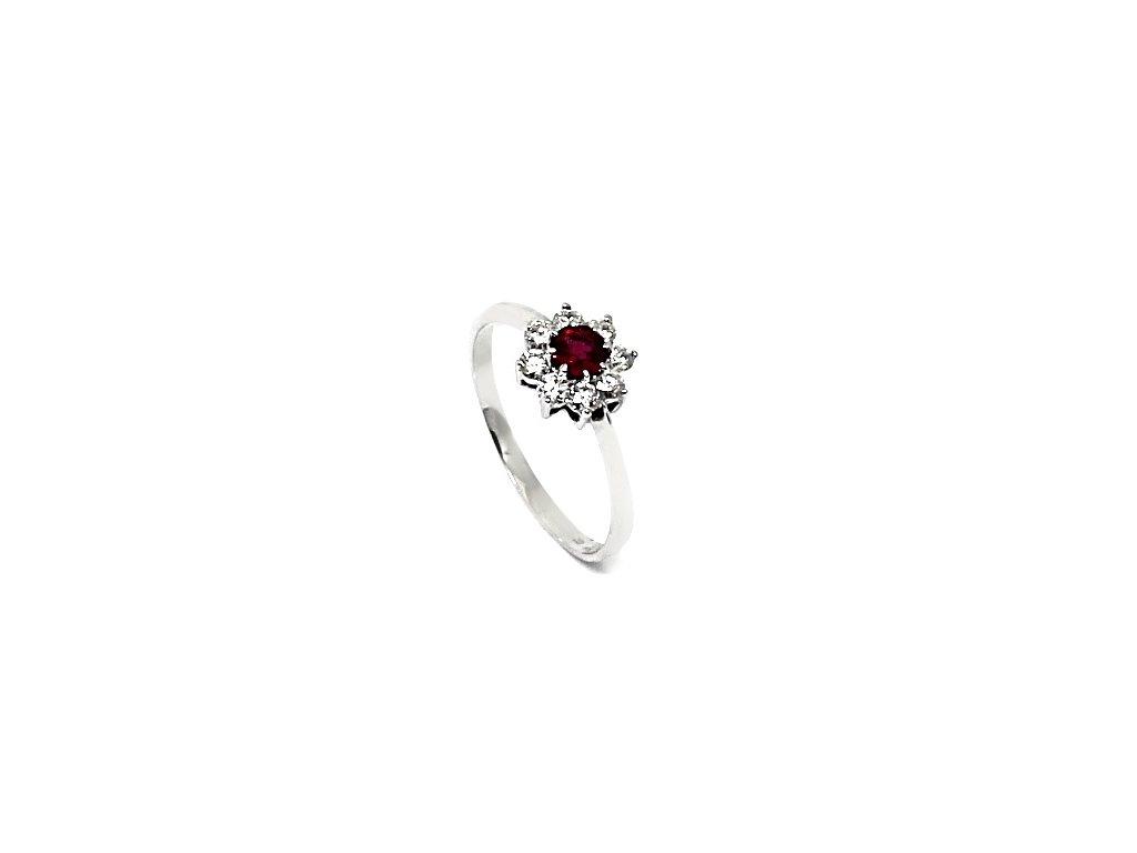 Diamantový prsten s rubínem bílé zlato Rana