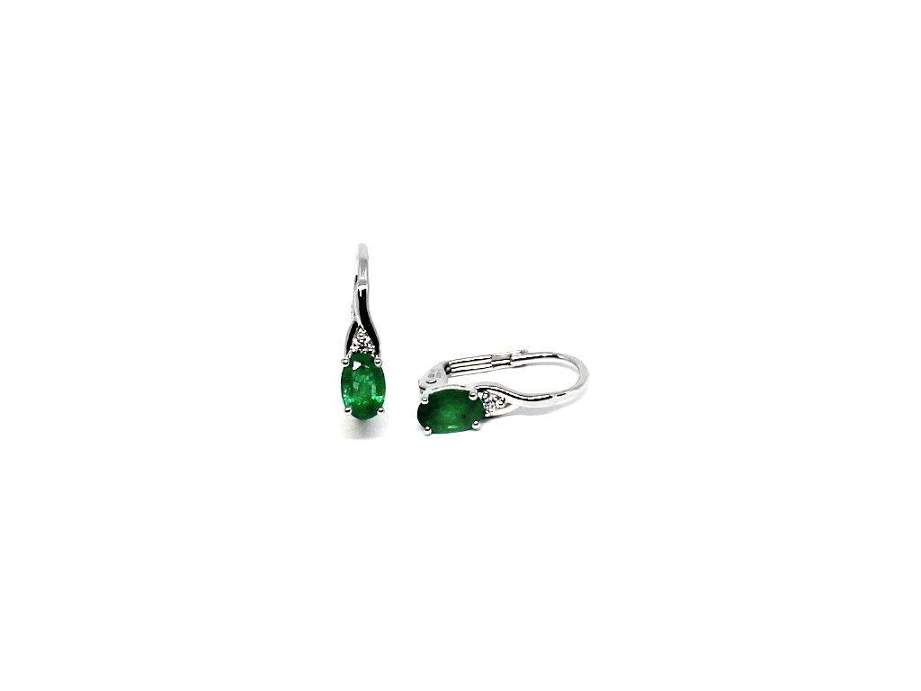 Diamantové náušnice se smaragdem bílé zlato Markab