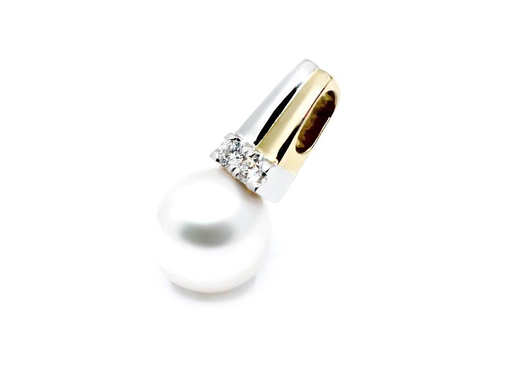 Zlatý přívěs s diamanty a perlou Akoya 9-9,5