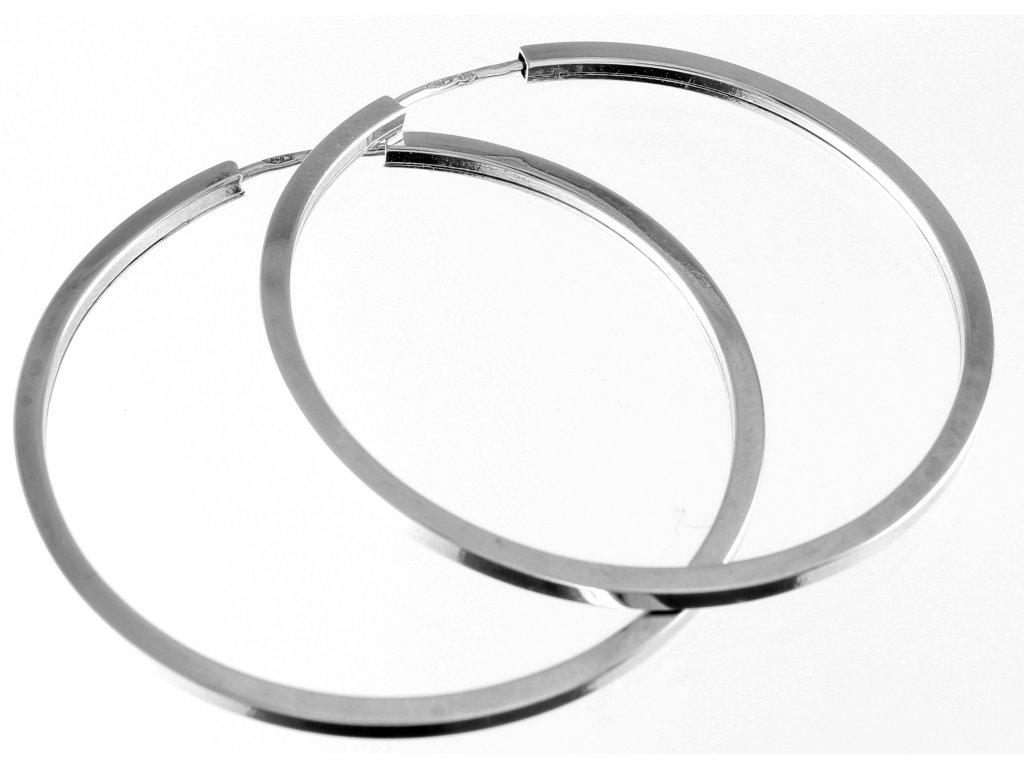 Zlaté náušnice kruhy z bílého zlata hranaté 35mm
