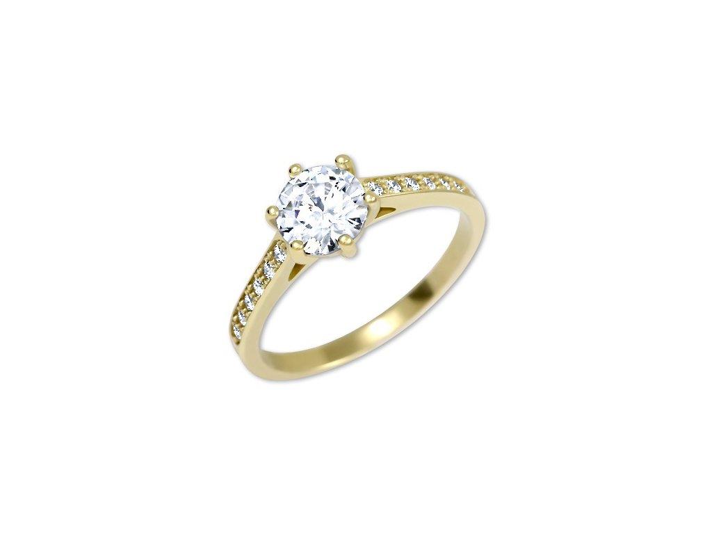 Zlatý prsten se zirkony Omega