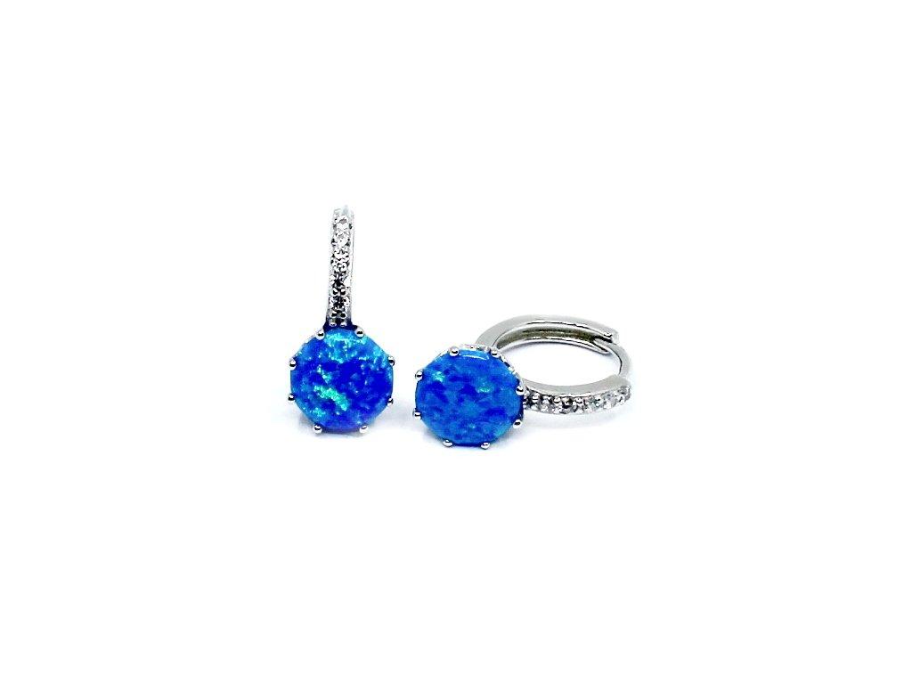 Stříbrné kroužky s modrým opálem a zirkony