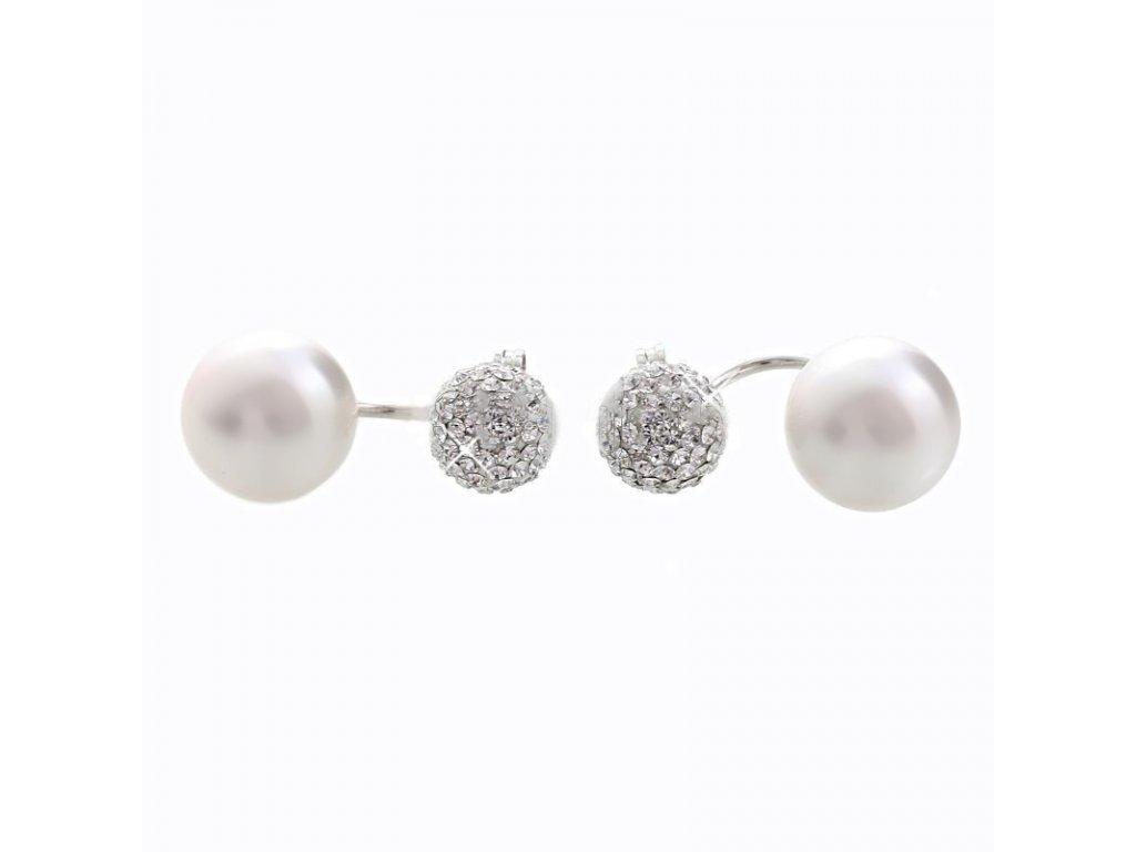 stribrne dvojnausnice ag 9251000 zdobene kristalovymi kameny a perlami od spolecnosti swarovski