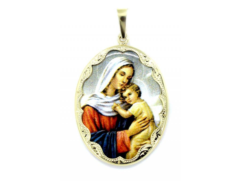 Zlatá madonka s Ježíšem porcelánová 4,2cm