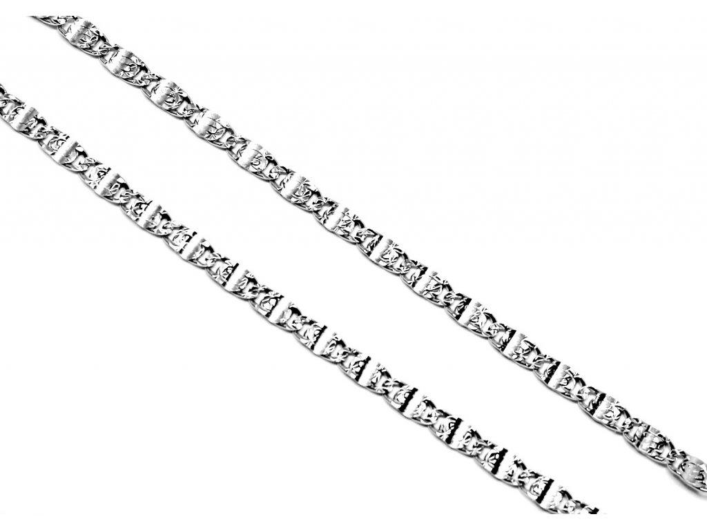 Stříbrný řetízek  destičkový 45/50cm gravírovaný