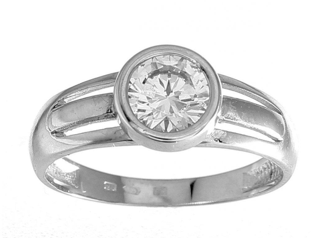 Zlatý prsten z bílého zlata se zirkonem Ester