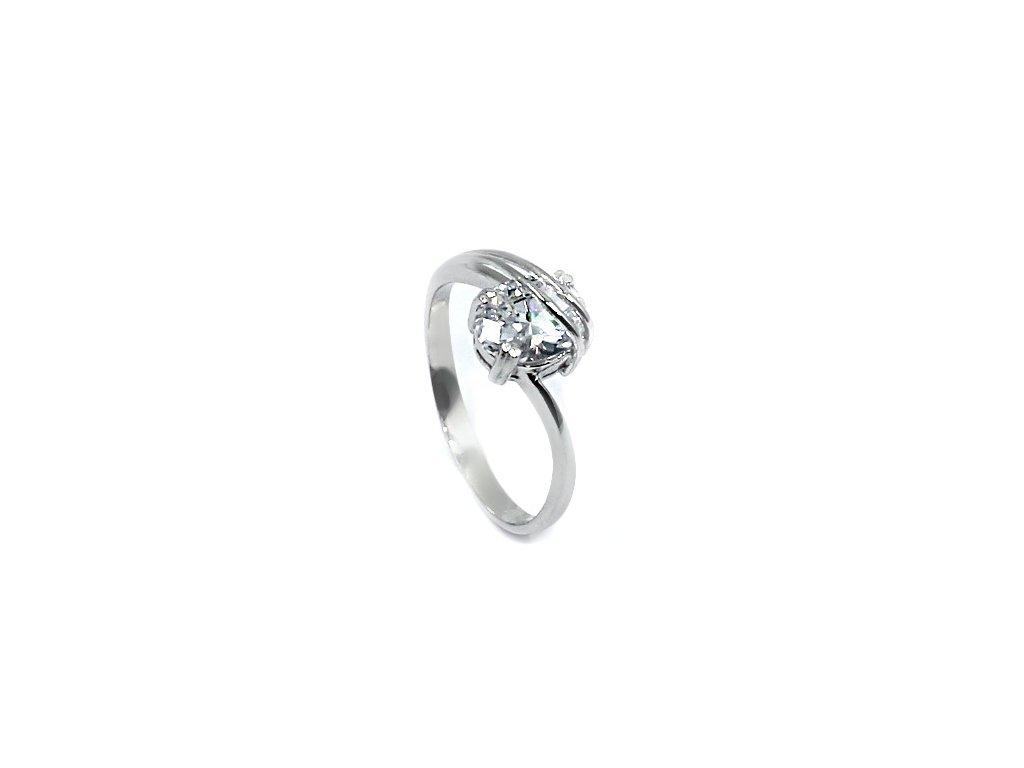Zlatý zásnubní prsten z bílého zlata se zirkonem Živa