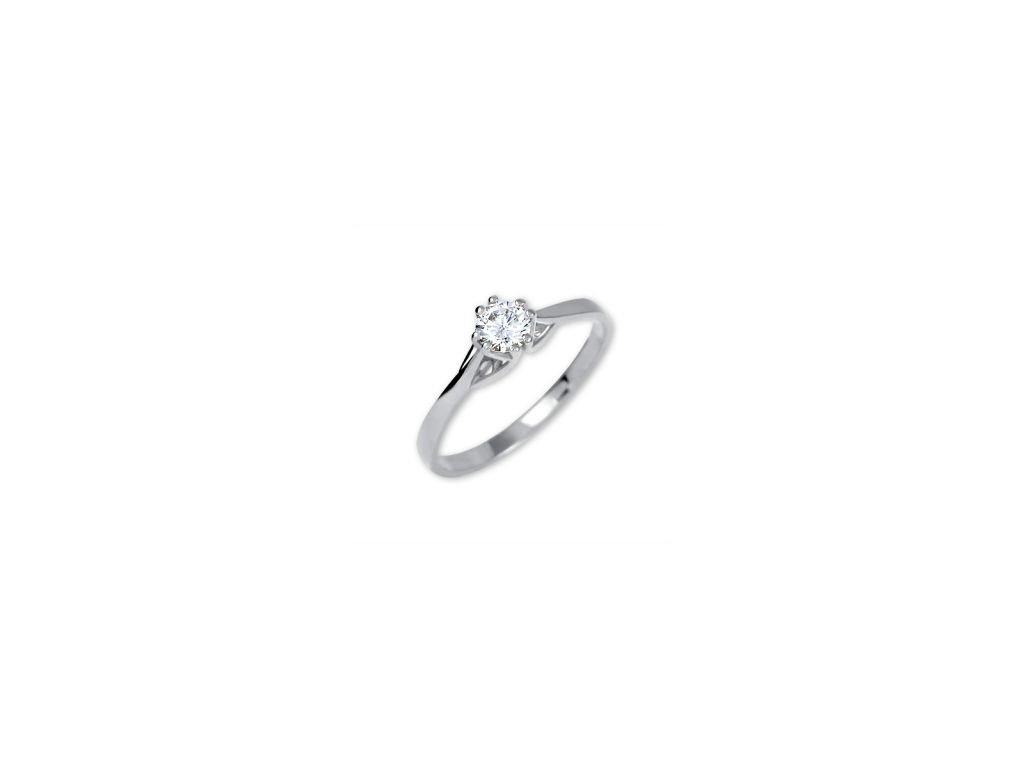 139792408 Zlatý zásnubní prsten z bílého zlata se zirkonem Una