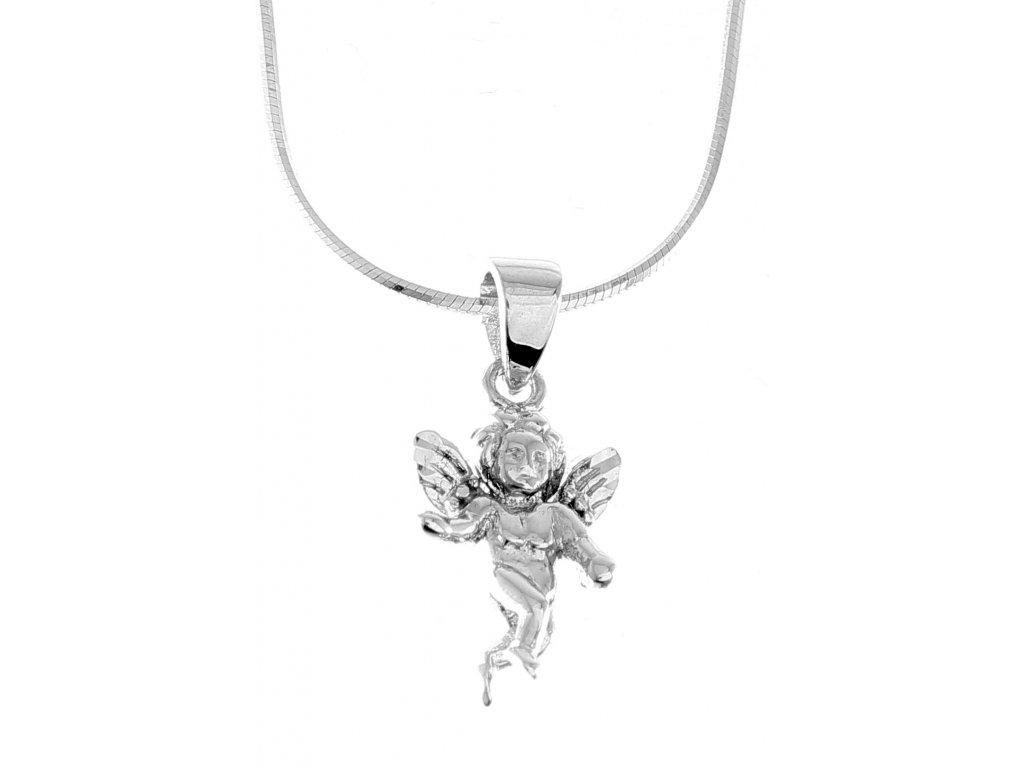 Zlatý přívěsek z bílého zlata - andělíček