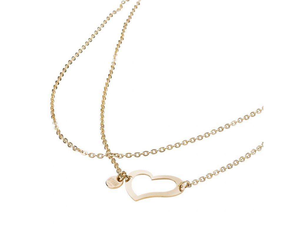 Ocelový náhrdelník Storm Heart Necklace Gold