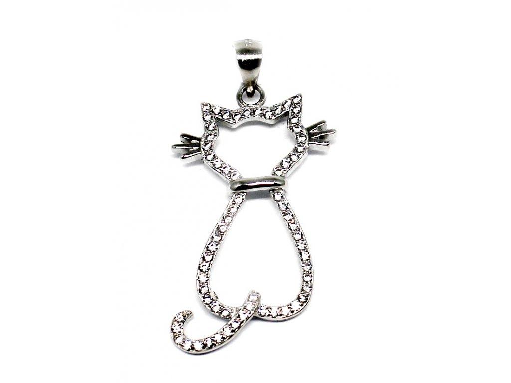 Stříbrný přívěšek křížek se zirkony kočka