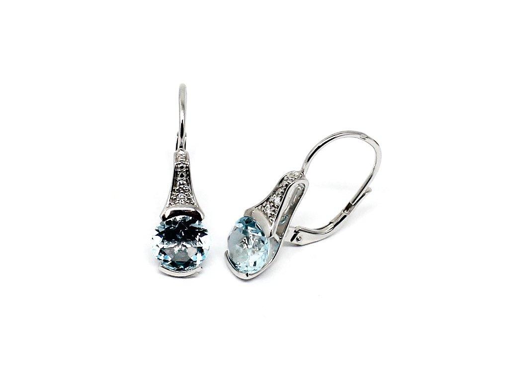 Diamantové náušnice s blue topazem v bílém zlatě