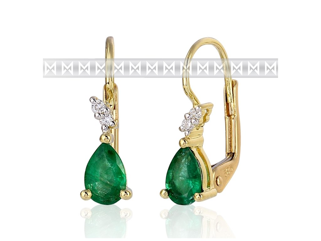 Diamantové náušnice zluté zlato, briliant, smaragd (emerald)