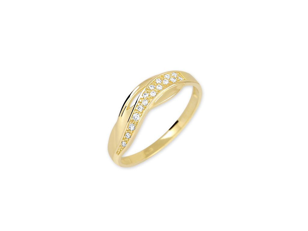 Zlatý prsten se zirkony Eva