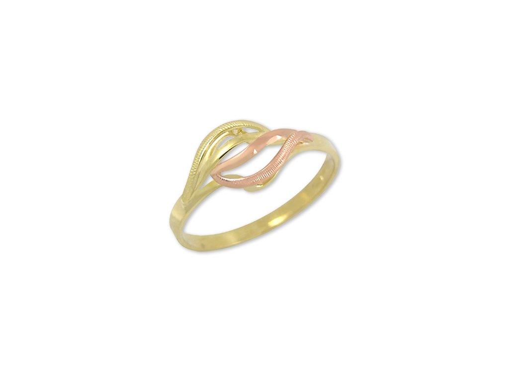 Zlatý prsten dvojbarevný ručně rytý Marie