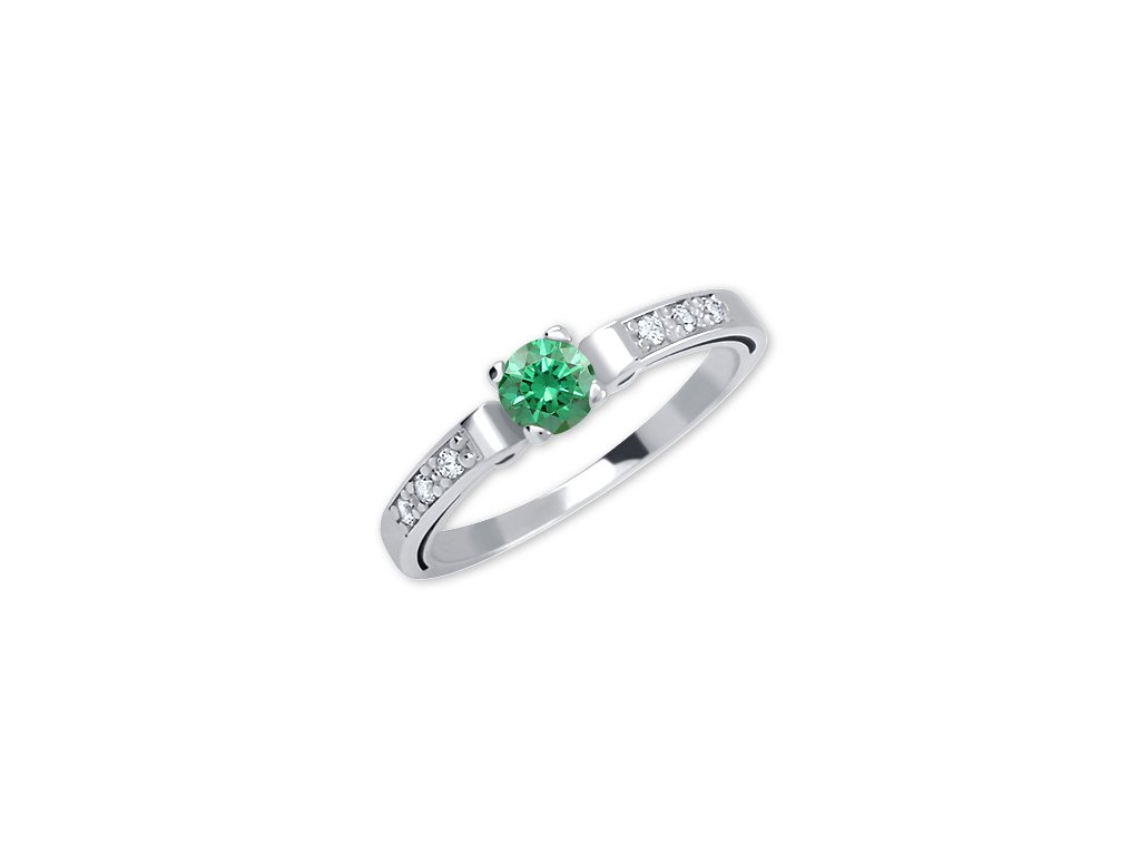 Zlatý prsten se zeleným zirkonem  Liv