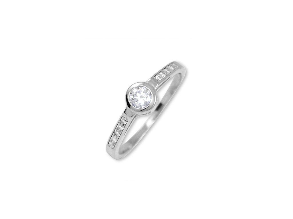 Zlatý prsten z bílého zlata se zirkony Lea