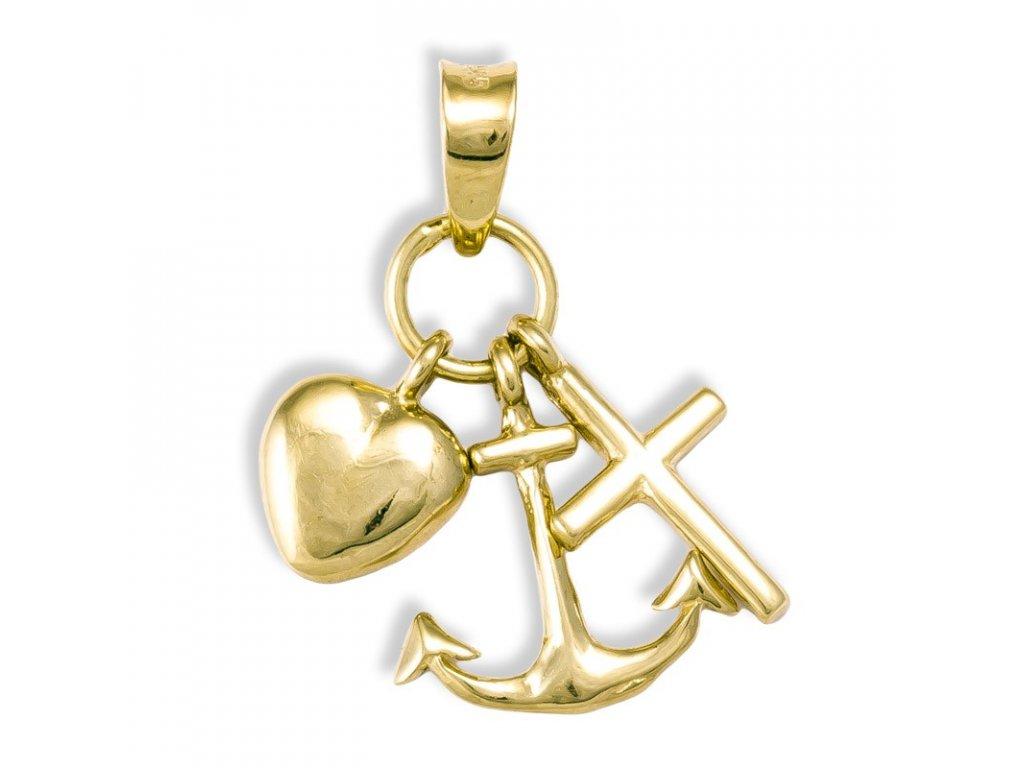 Zlatý přívěsek víra láska naděje 21824