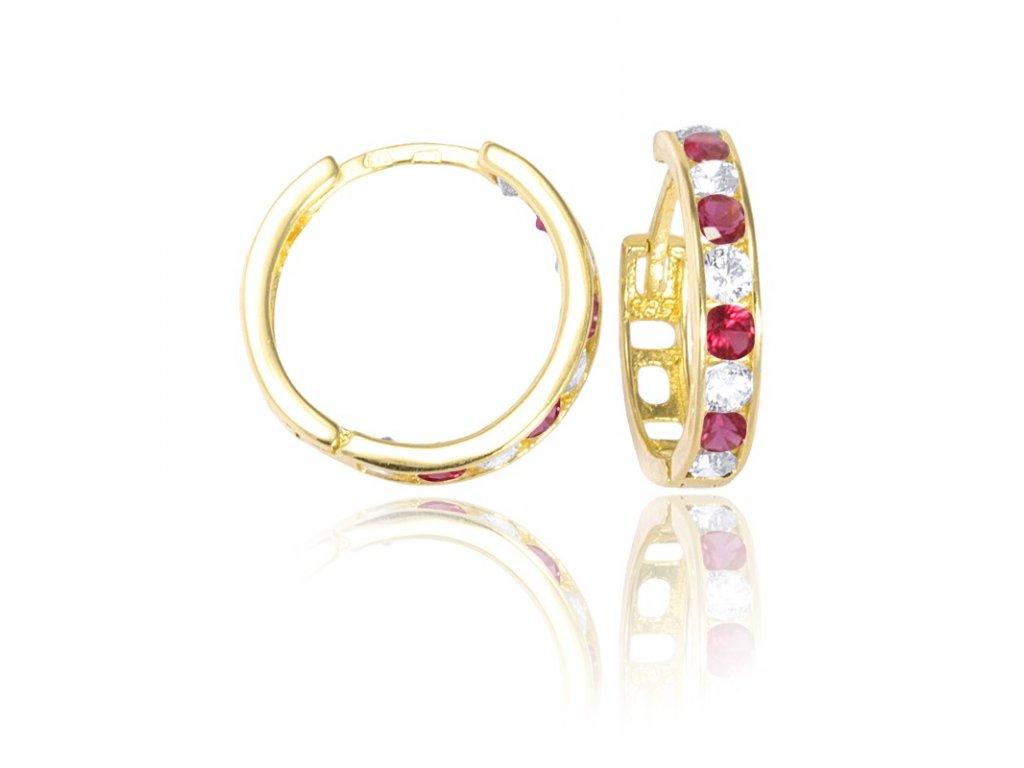 95baaa00610 Zlaté náušnice kruhy se zirkony rubín 15mm