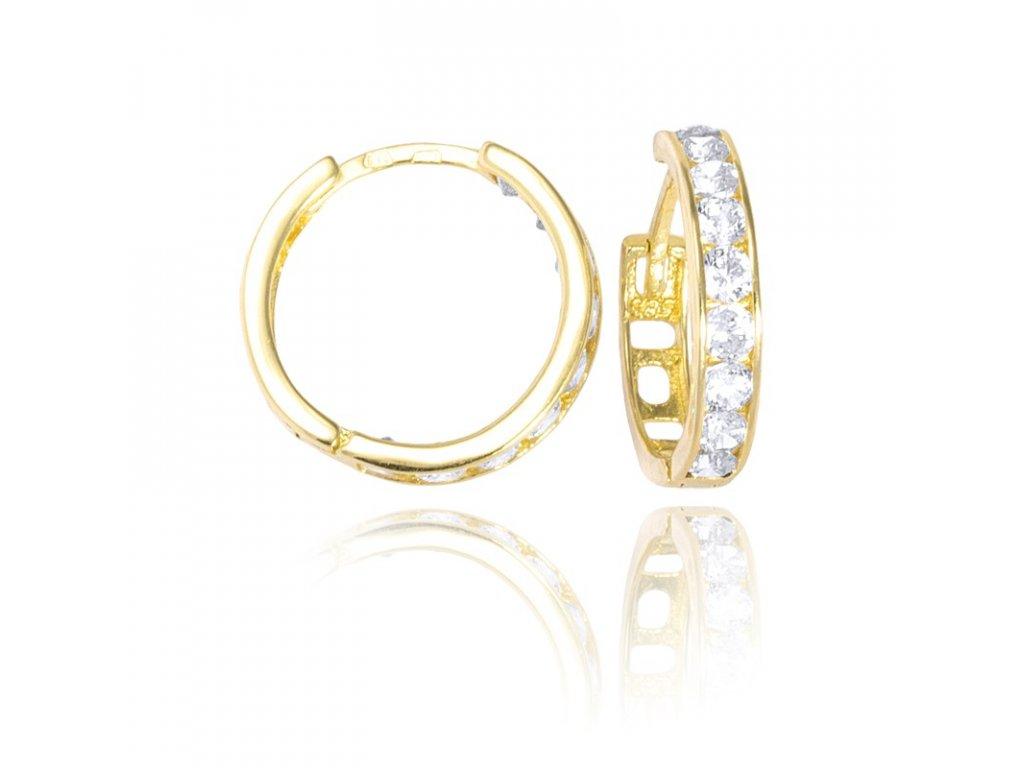 5524502ac3a Zlaté náušnice kruhy se zirkony bílé 15mm