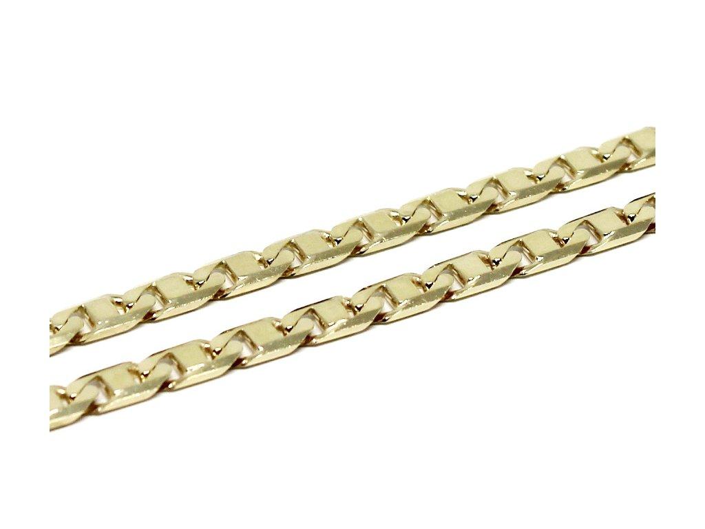 Zlatý řetízek destičkový 55cm silný