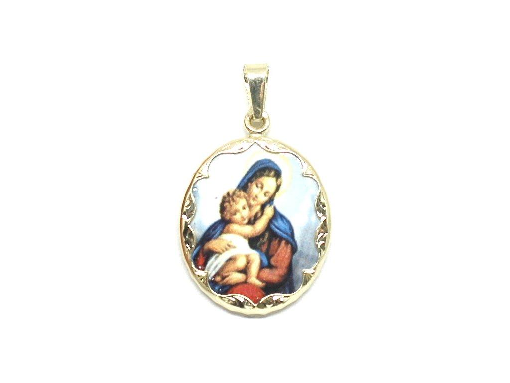 Zlatá madonka s Ježíšem smaltovaná 3cm