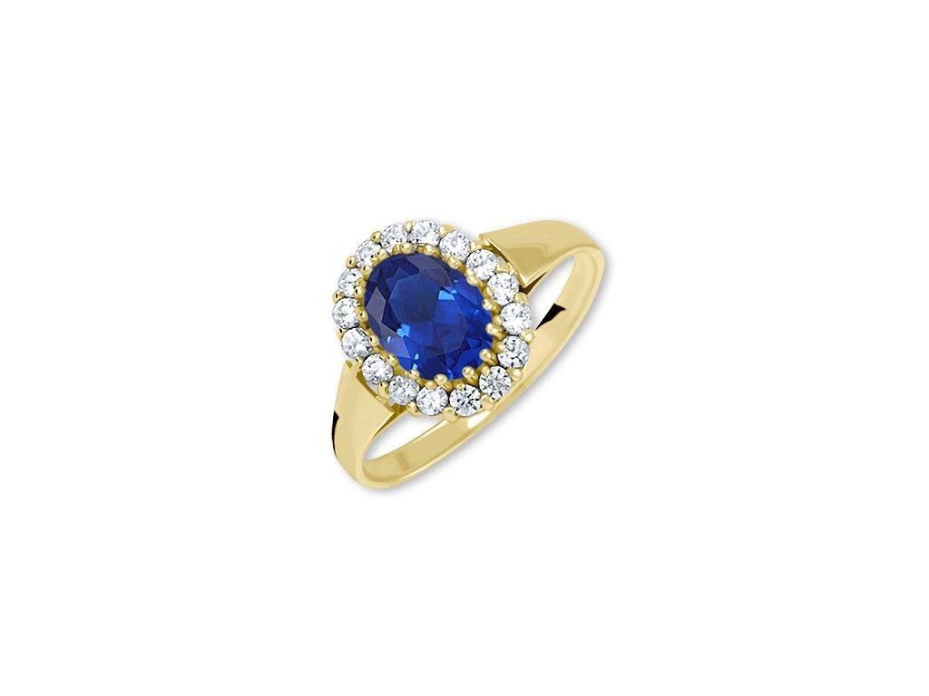 Zlatý prsten se safírem a zirkony Liz