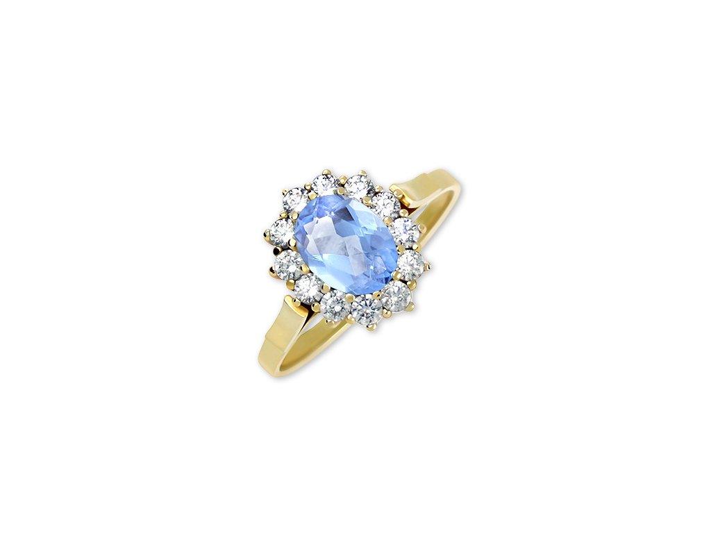 Zlatý prsten s blue topazem a zirkony Etna