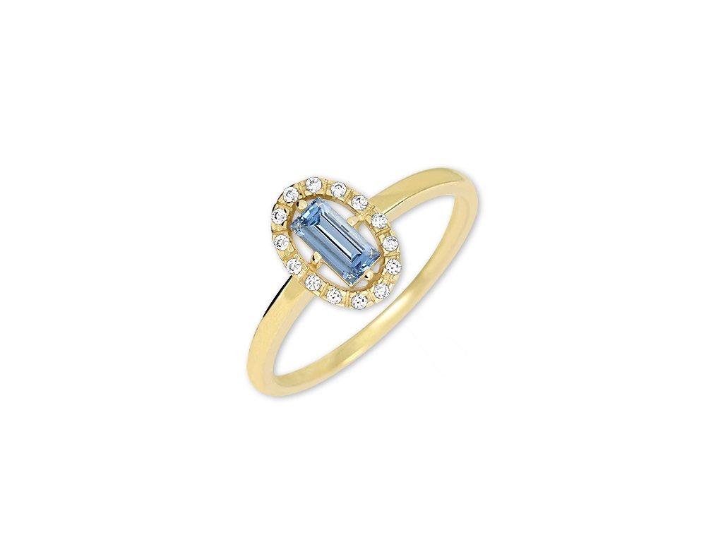 Zlatý prsten s blue topazem a zirkony Lena