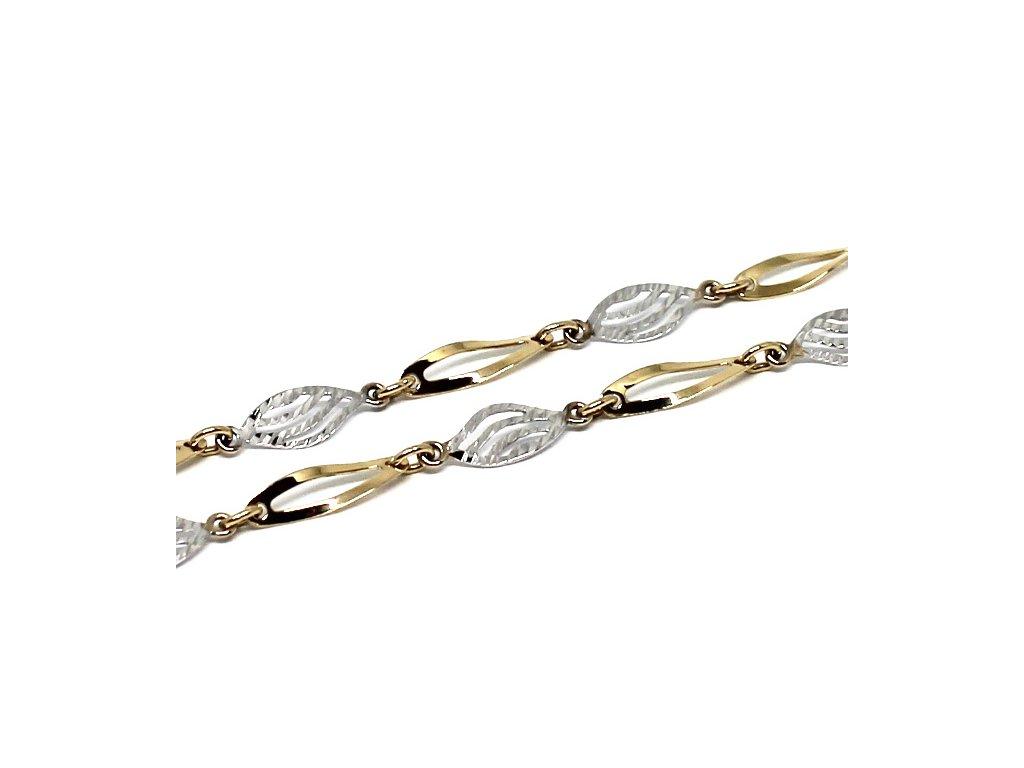 Zlatý řetízek destičkový dvojbarevný 42cm vlnky
