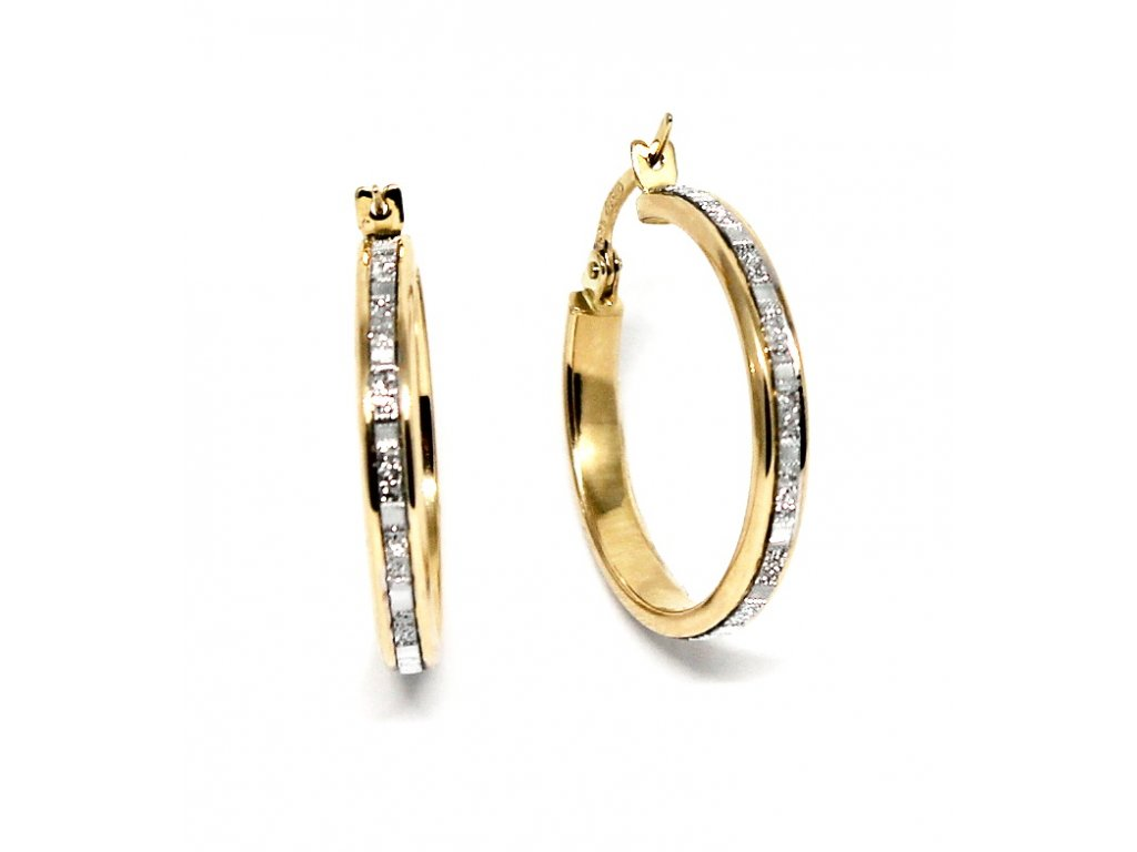 Zlaté náušnice kruhy dvojbarevné