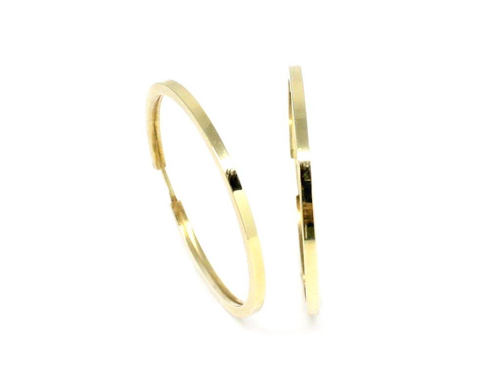 Zlaté náušnice kruhy 30mm hranaté