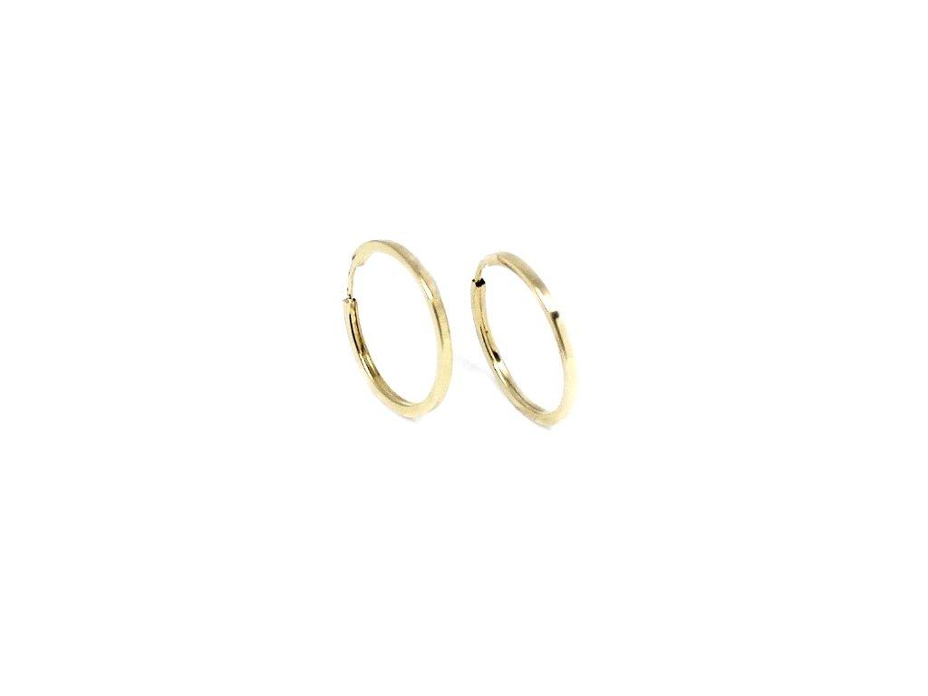 Zlaté náušnice kruhy 15mm hranaté hladké