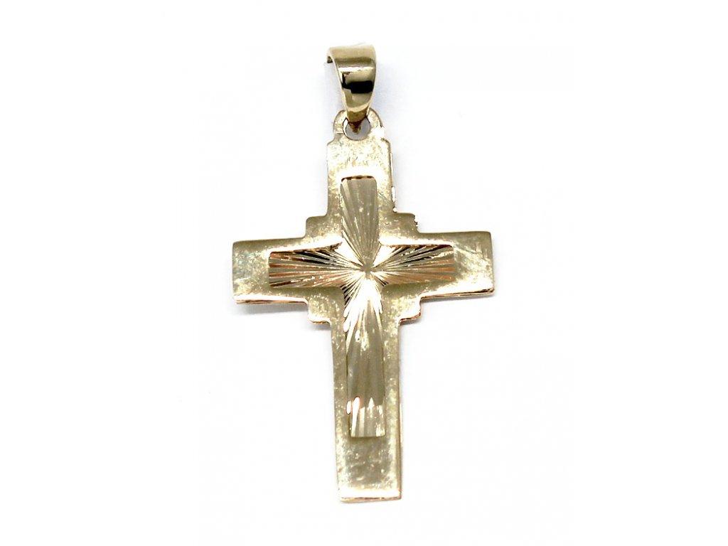 Zlatý kříž s rytinou 30mm