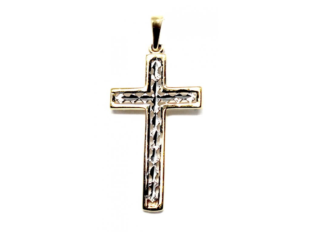Zlatý kříž dvoubarevný 3cm