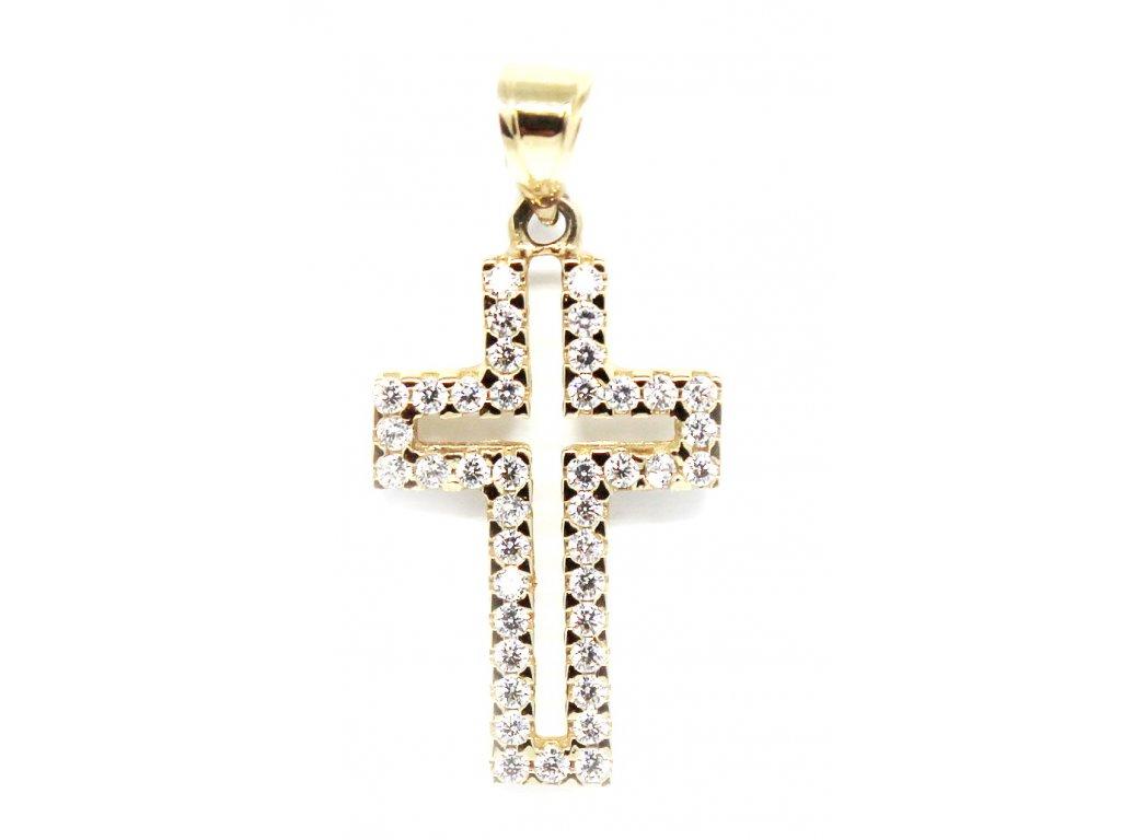 Zlatý kříž se zirkony 30mm