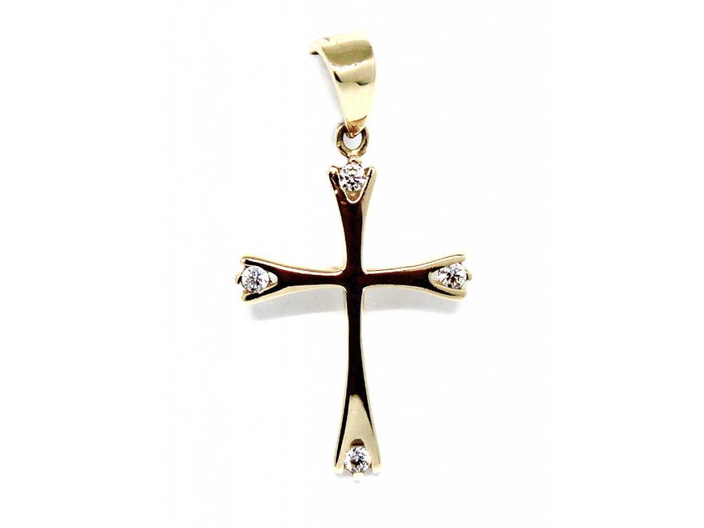 Zlatý kříž se zirkony 24mm
