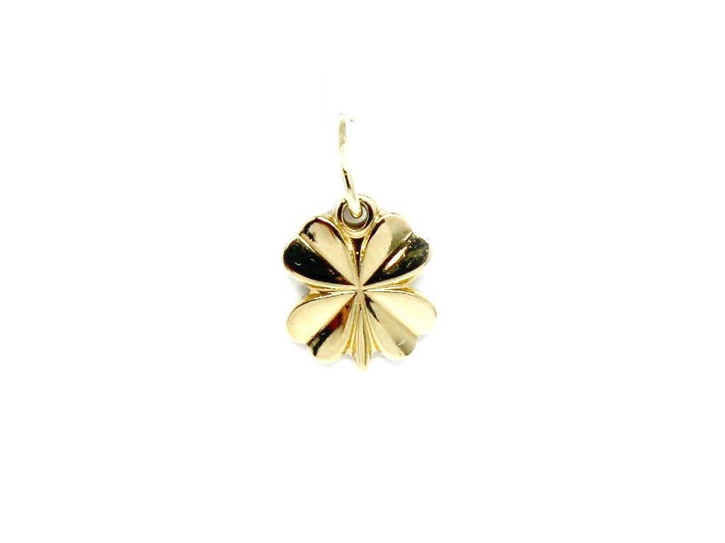 Zlatý přívěsek čtyřlístek-jemný