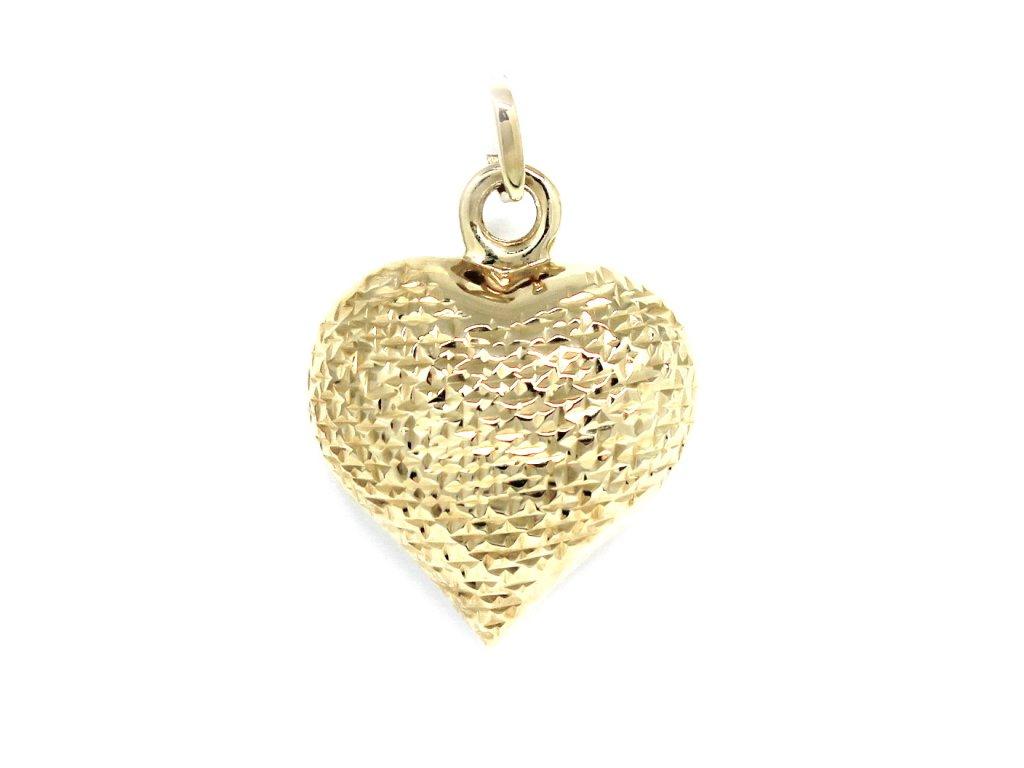 1de55fa49 Zlatý přívěsek srdce gravírované