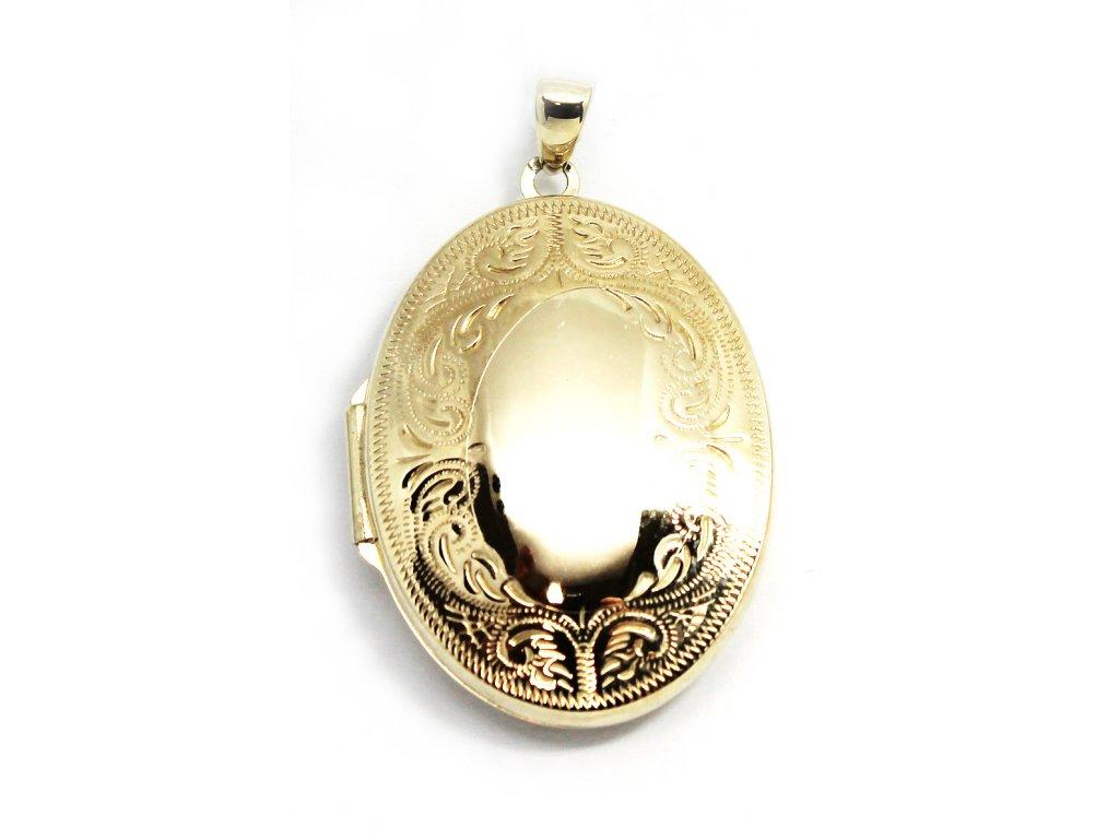 Zlatý přívěsek medailonek 4cm gravírované