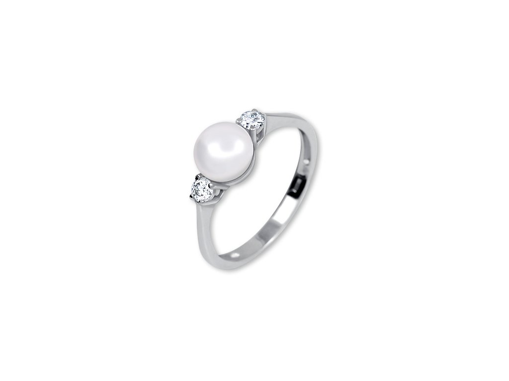 Zlatý prsten s perlou z bílého zlata Erna