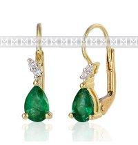 Diamantové náušnice ze žlutého zlata briliant, smaragd (emerald)29/235/383-0097