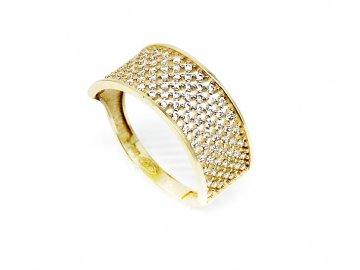 Zlatý prsten se zirkony hranatý Mája