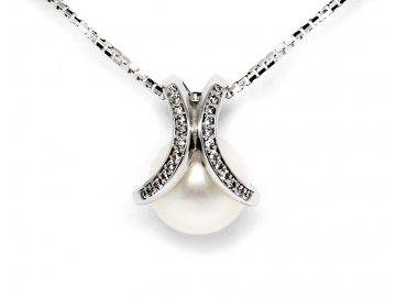 Perlový přívěsek z bílého zlata a zirkony
