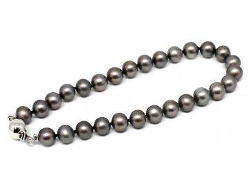 Perlový náramek sladkovodní černé perly 19cm